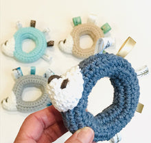 "Load image into Gallery viewer, Hand Crocheted Baby Hedgehog Teether ""Boy"""