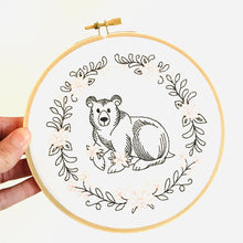 "Load image into Gallery viewer, Gigi Stitches 6"" Embroidered Hoop Wall Art - Bear"