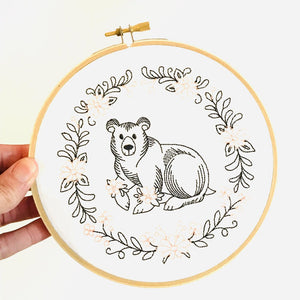 "Gigi Stitches 6"" Embroidered Hoop Wall Art - Bear"