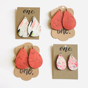 "One Designs Cork Leather Teardrop Earrings ""Spring Swashes"""