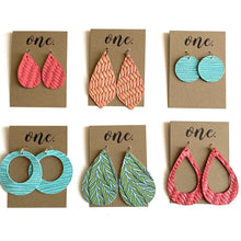 "Load image into Gallery viewer, One Designs Braided Leather Earrings Petite Circle ""Bright Aqua"""