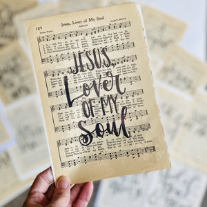 "Vintage Hand Lettered Hymn ""Jesus Lover of  my Soul"""