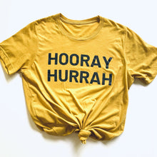 "Load image into Gallery viewer, Plume ""Hooray Hurrah"" Spirit Tee Mustard"