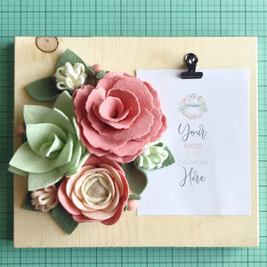 "Heartgrooves Handmade Felt Flower Craft Kit ""Minty Blush Floral Trio"" with Clip Frame Base"