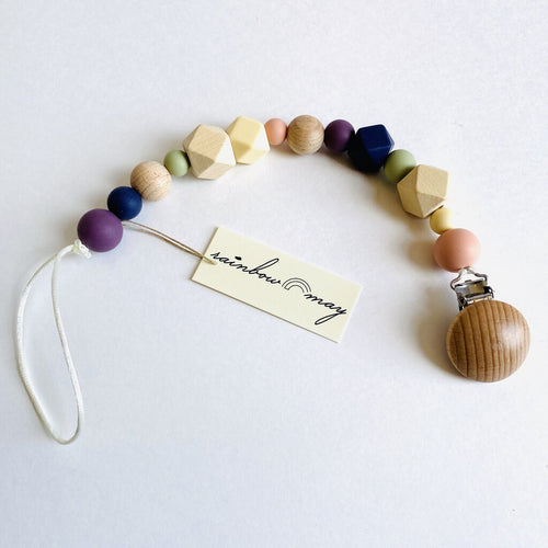 Rainbow May Wooden Pacifier Clip