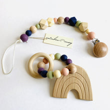 "Load image into Gallery viewer, Rainbow May Wooden Pacifier Clip ""Signature"""