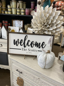 "Blue Daisy Handmade Sign 12x24 ""Welcome"" with Personalization (Allow 2 Weeks, Local Plume Pick-up Only)"
