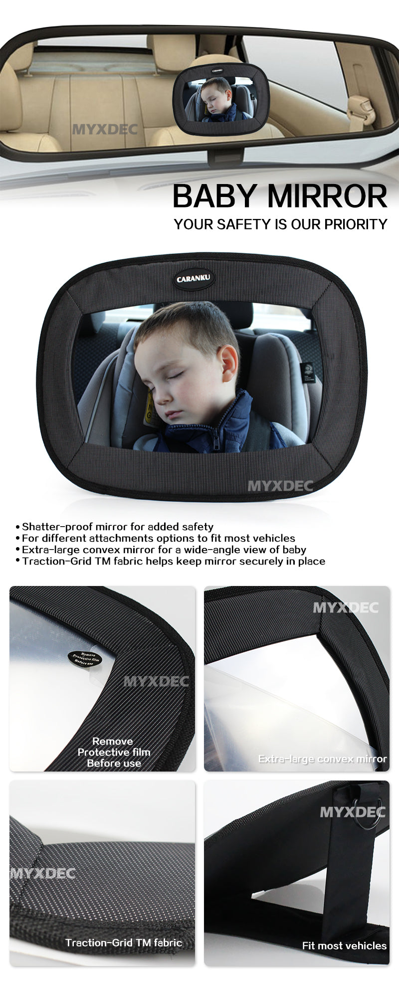 Car Safety Seat Mirror View Back Baby