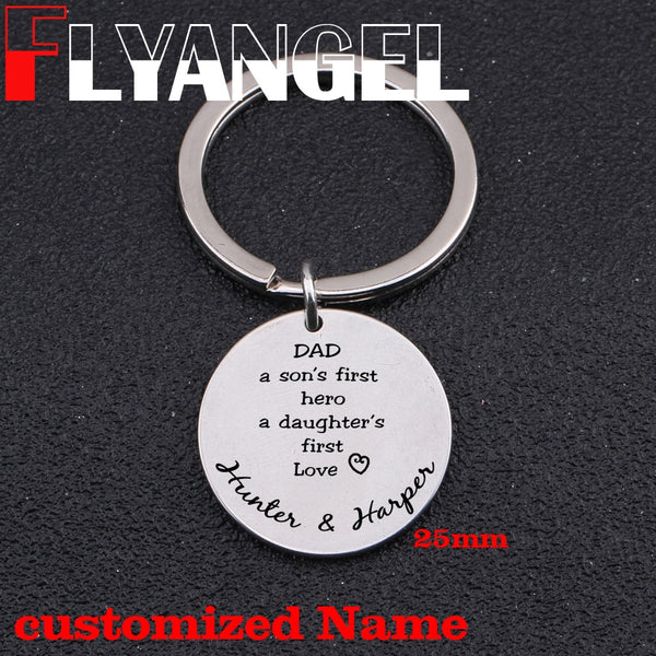 Custom Name Father Keychain Engraved Dad