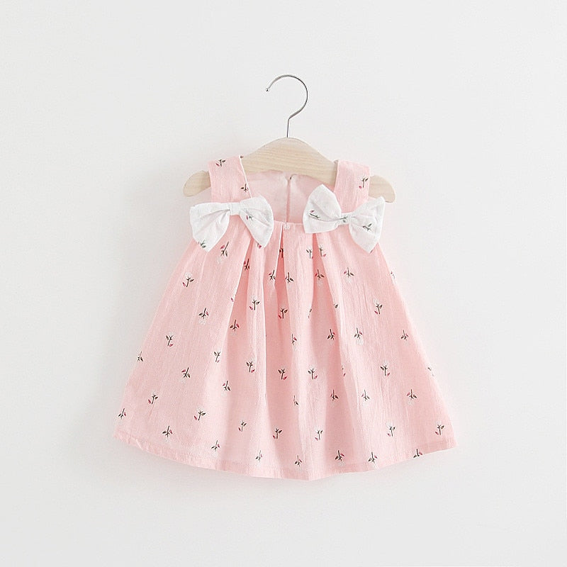 Baby Girl Dress Sleeveless Print Bow