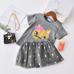 Autumn Baby Girl Clothes Cat Cartoon