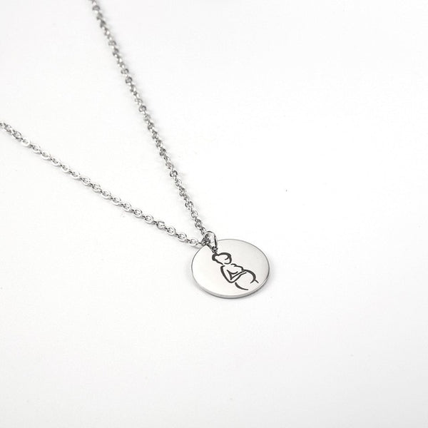 Mom Pregnant Round Necklace Dainty