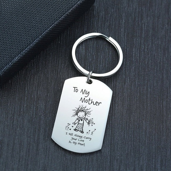 Stainless Steel Key Ring Mom Mother