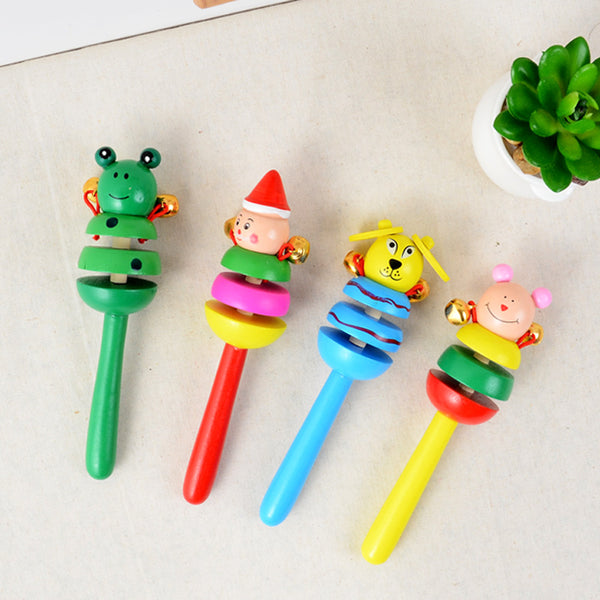 Baby Rattle Ring Wooden Handbell Baby Toys