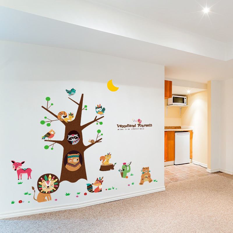 Animals Tree Self-adhesive Wall Stickers for Kids