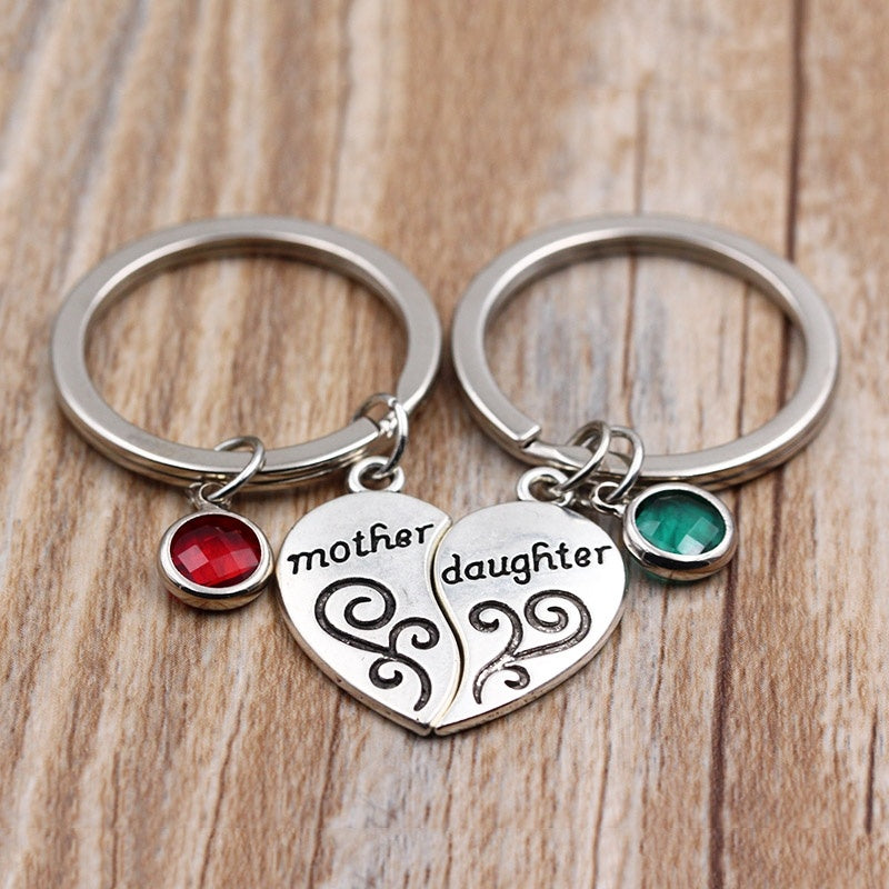 Mother & Daughter Heart Birthstone Keychain