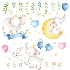 Small Elephant Moon Stars Wall Stickers