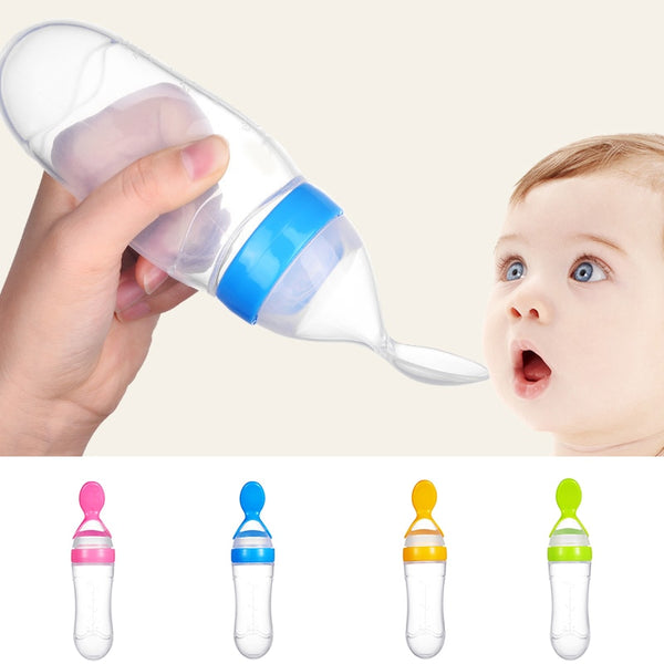 Silicone Baby Feeding Bottle With Spoon Newborn