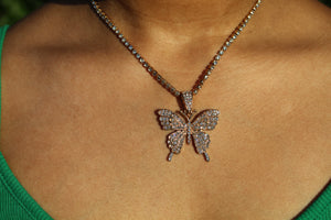 Open image in slideshow, Iced Out Mariposa Necklace