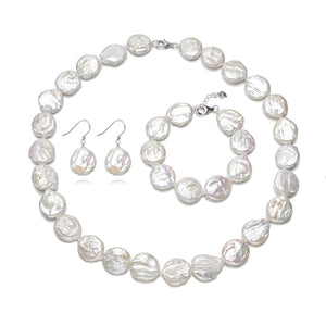 Coin Pearls Earrings Bracelet & Necklace Set