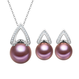 Pyramid Edison Pearl Earrings & Necklace Gift Set