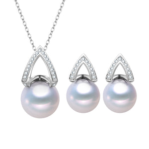 Pyramid Edison Pearl Earrings & Necklace Set
