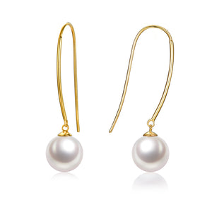 G18k Contemporary Pearl Hook Earrings