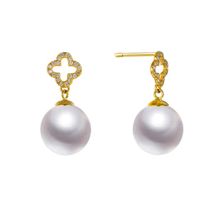 G18k Square Cross Diamonds & Pearl Studs Earrings