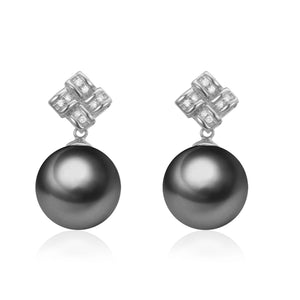 G18k Diamonds Love Knot Pearl Studs Earrings