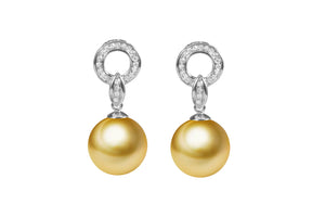 G18k Diamonds Modern & Pearl Earrings
