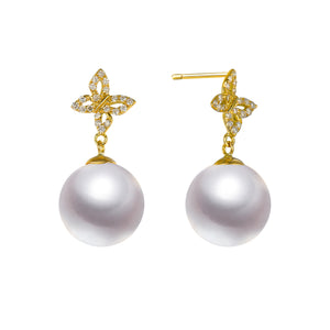 G18k Diamonds Butterfly & Pearl Studs Earrings