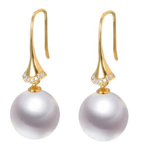 G18k Stiletto Diamonds Pearl Earrings