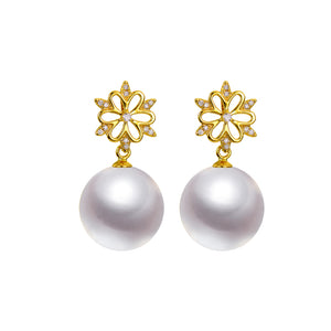 G18k Snowflake Diamonds Pearl Earrings