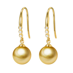 G18K Diamonds City Style Pearl Earrings