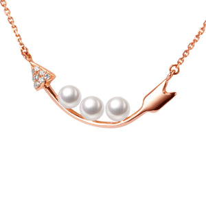 G18K Diamonds Arrow Of Love Pearl Necklace