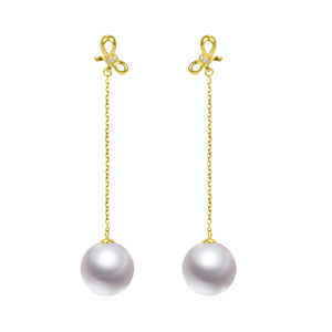 G18k Diamonds Butterfly Edison Pearl Drop Earrings