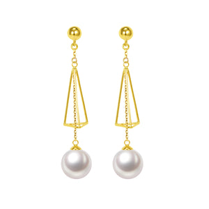 G18k Diamonds Triangle-Shaped Edison Pearl Drop Earrings