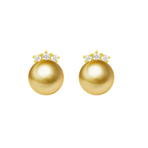 G18k Diamonds The Crowned Edison Pearl Studs Earrings