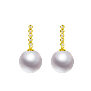 G18k The perfect Diamonds & Pearl Stud Earrings