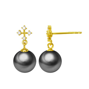 G18k Diamonds Elegant Cross Edison Pearl Studs Earrings