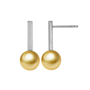 G18k Modern Micro Bar Pearl Studs Earrings