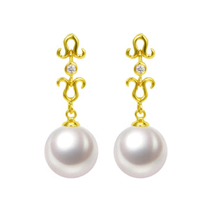 G18k Diamonds Le fleur Pearl Earrings