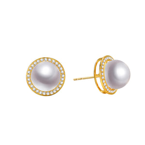 G18k Diamonds Halo Pearl Studs Earrings