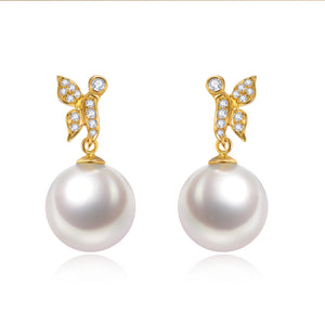 G18k Diamonds Fly Away Edison Pearl Earrings