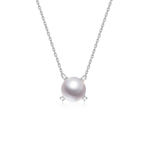 G18k Quadrant Diamonds Pearl Necklace