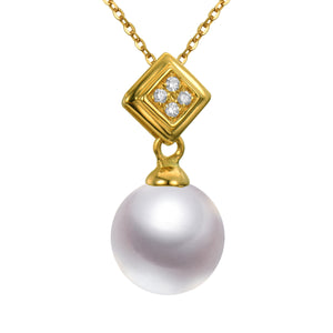 G18k Diamonds Edison Pearl Diamond Pendant