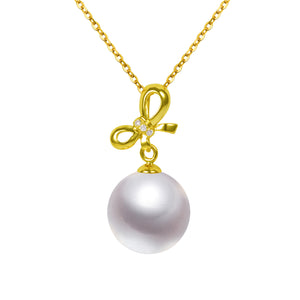 G18k Diamonds Bow & Pearl Pendant