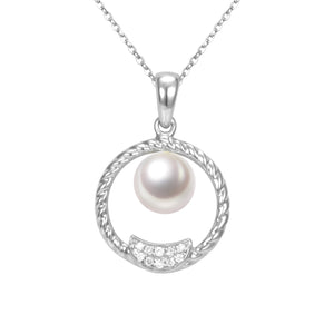 G18K Diamond & Pearl Circle Pendant