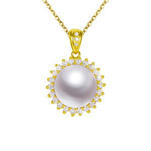 G18k Sunshine and Diamonds Pearl Pendant (Large Size)
