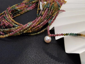 Rainbow Color Tourmaline Pearl Necklace